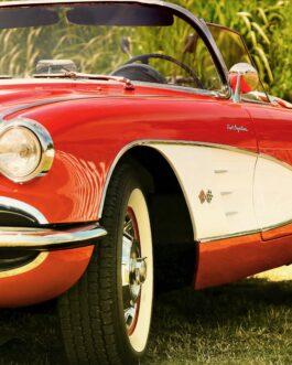 Plakat Chevrolet Corvette C1 czerwono-biały