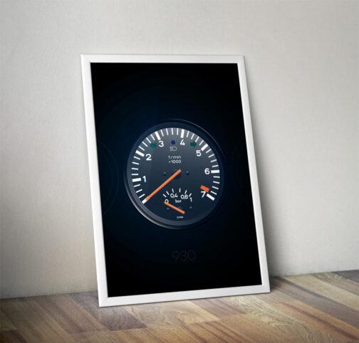 plakat wskaźniki Porsche 911 930 Turbo