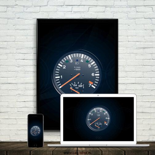 plakat wskaźniki Porsche 911 930 Turbo 4