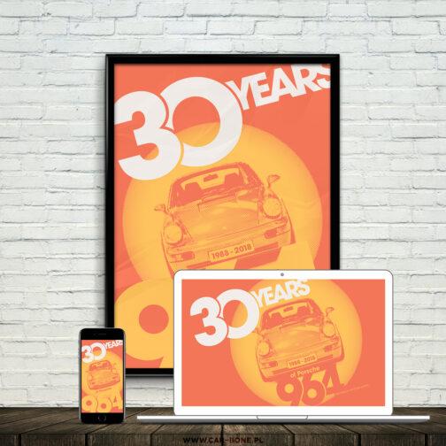 plakat 30 rocznica powstania Porsche 911 964 3