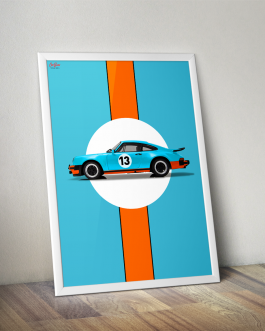 Plakat Porsche 911 930 w malowaniu Gulf