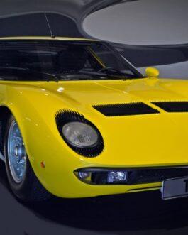 Plakat Lamborghini Miura yellow